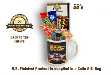 Back to the Future Mug with/without a Time Travelling selection of 80's retro sweets.